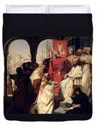 Knights Of The Order Of St John Of Jerusalem Restoring Religion In Armenia Duvet Cover