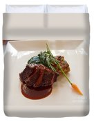 Kobe Beef With Spring Spinach And A Wild Mushroom Bread Pudding Duvet Cover
