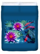 Koi And The Water Lilies Duvet Cover