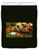 Koi Fish In Pond Swimming With Two Mallard Ducks Duvet Cover