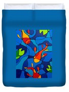 Koi Joi - Blue And Red Fish Print Duvet Cover