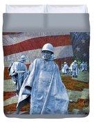 Korean War Veterans Memorial Bronze Sculpture American Flag Duvet Cover