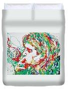 Kurt Cobain Smoking -portrait-enamels On Canvas Duvet Cover