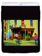 Kusmi Tea And Sandwich Shop St Viateur Corner St Urbain Montreal Summer City Scene  Carole Spandau Duvet Cover