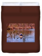Kyaking On A Lake In Spring Duvet Cover