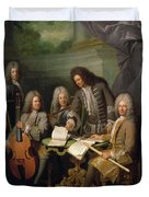 La Barre And Other Musicians, C.1710 Oil On Canvas Duvet Cover