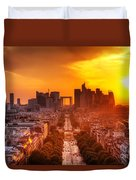 La Defense And Champs Elysees At Sunset Duvet Cover