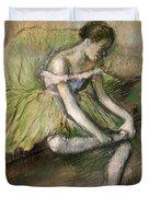 La Jupe Verte Duvet Cover by Edgar Degas