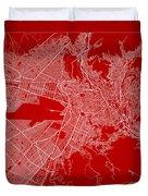 La Paz  Street Map - La Paz Bolivia Road Map Art On Color Duvet Cover