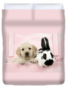 Lab Puppy And Bunny Duvet Cover