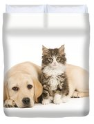 Labrador And Forest Cat Duvet Cover by Jean-Michel Labat