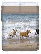 Labrador Dogs Running Duvet Cover