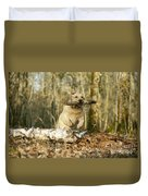 Labrador Jumping With Stick Duvet Cover