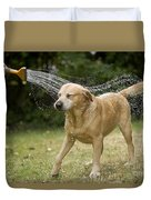 Labrador Playing In Water Duvet Cover
