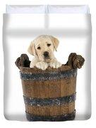 Labrador Puppy In Bucket Duvet Cover