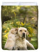 Labrador Puppy Playing With Parent Duvet Cover
