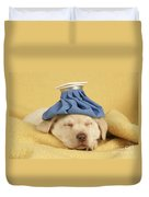 Labrador Puppy With Ice Pack Duvet Cover