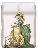 Ladies Elaborate Gown, Engraved Duvet Cover