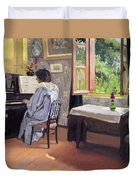 Lady At The Piano Duvet Cover by Felix Edouard Vallotton