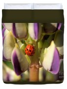 Lady Bug On Lupine Duvet Cover