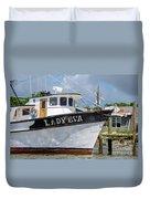 Lady Eva Shrimp Boat Duvet Cover