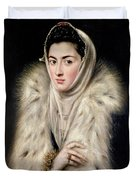 Lady In A Fur Wrap Duvet Cover