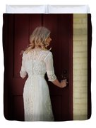 Lady In Edwardian Dress Opening A Door Duvet Cover