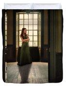 Lady In Green Gown By Window Duvet Cover by Jill Battaglia