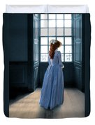 Lady In Purple Gown By Window Duvet Cover