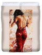 Lady In Red #24 Large  Duvet Cover