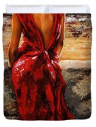 Lady In Red  34 -  I Love Budapest Duvet Cover
