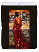 Lady In Red  34 -  I Love Budapest Duvet Cover by Emerico Imre Toth