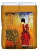 Lady In The Red Dress Duvet Cover