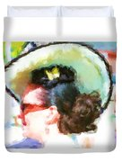 Lady In The White Hat And Trim Duvet Cover
