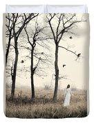 Lady In White In Autumn Landscape Duvet Cover