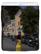 Lady In Yellow By The Church Of San Francesco Maiori Italy Duvet Cover