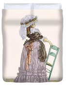 Lady Leaning On Chair, Engraved Duvet Cover