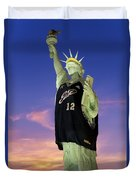 Lady Liberty Dressed Up For The Nba All Star Game Duvet Cover by Susan Candelario