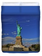 Lady Liberty In New York City Duvet Cover