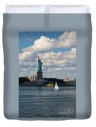 Lady Liberty With Sailboat And Water Taxi Duvet Cover