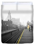 Lady On The El  Duvet Cover