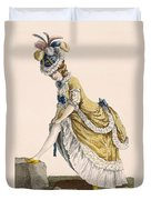 Lady Pulling Up Her Stocking, Engraved Duvet Cover