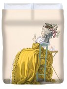 Lady Reclines On Chair Drinking Duvet Cover