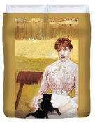 Lady With Black Kitten Duvet Cover