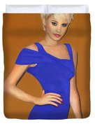Lady With The Blue Dress Duvet Cover
