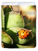 Ladybug And Chick Duvet Cover by Chris Berry