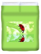 Ladybug On Leaf Looking At Water Reflection Duvet Cover
