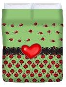 Ladybugs Hearts Desires  Duvet Cover