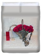 Purse Red Roses Jewelry Diamonds Duvet Cover