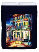 Lafitte Guest House At Christmas Duvet Cover